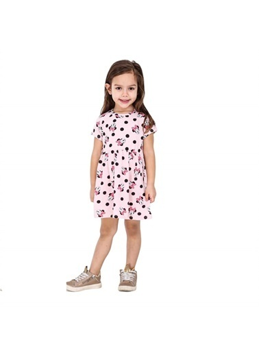 Quzucuk Kids Kız Çocuk Figürlü Pembe Elbise Pembe
